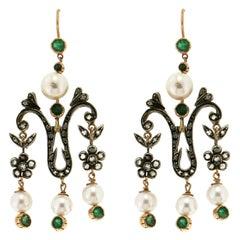 Handcraft Pearls 14 Karat Yellow Gold Diamonds Emeralds Drop Earrings