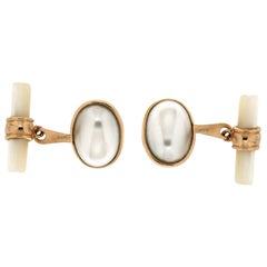 Handcraft Pearls 14 Karat Yellow Gold Mother of Pearl Barrels Cufflinks