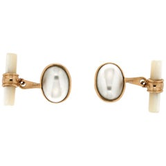 Handcraft Pearls 14 Karat Yellow Gold Mother of Pearl Barrels Cufflinks