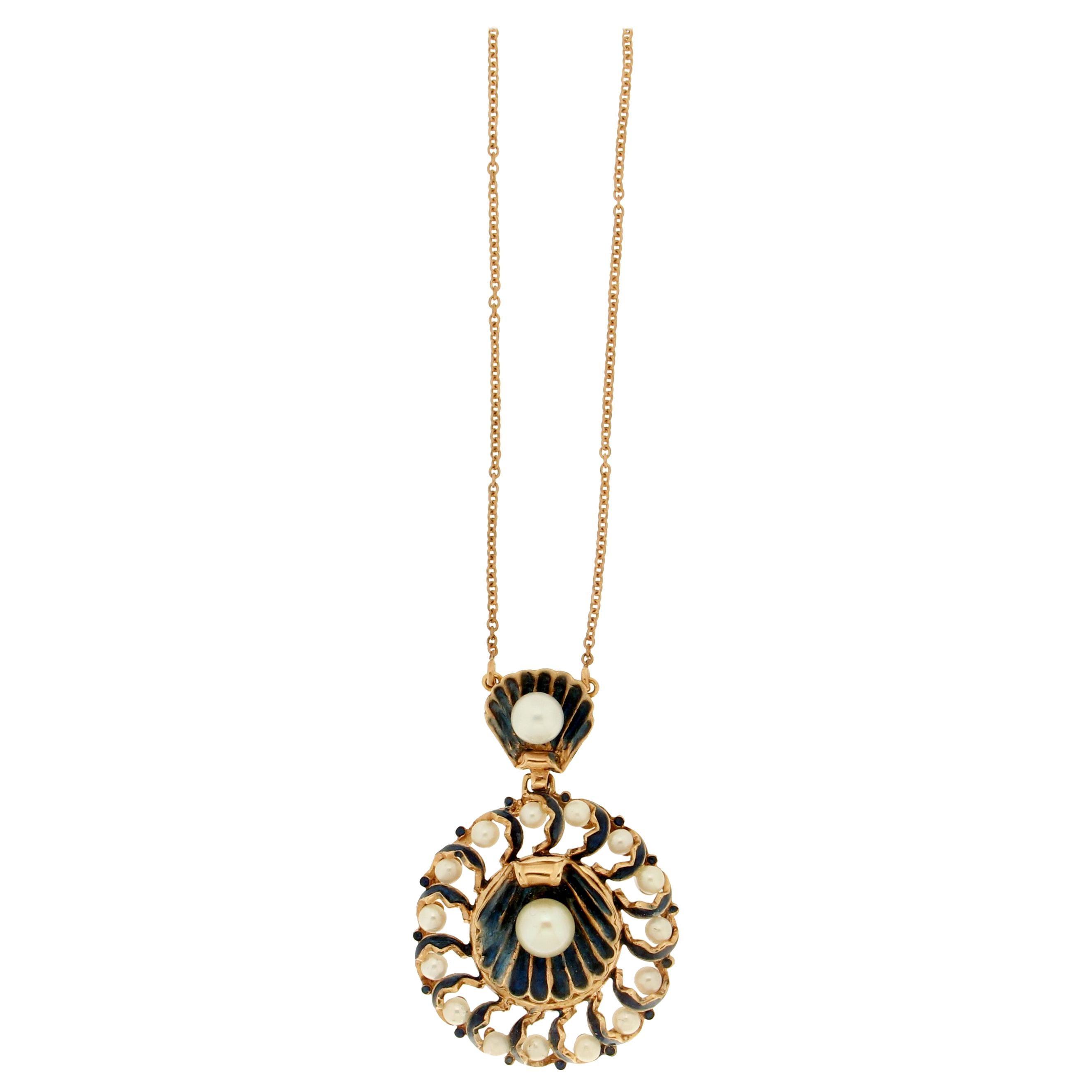 Handcraft Pearls 14 Karat Yellow Gold Pendant Necklace