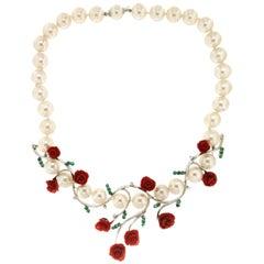 Handcraft Pearls 18 Karat White Gold Diamonds Coral Choker Necklace