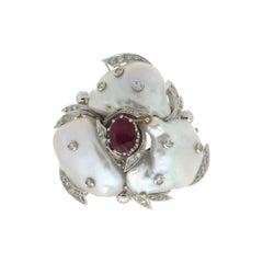 Handcraft Pearls 18 Karat White Gold Diamonds Ruby Cocktail Ring