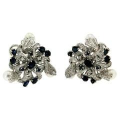Handcraft Japan Pearls 18 Karat White Gold Diamonds Sapphires Stud Earrings
