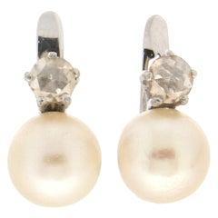Handcraft Pearls 18 Karat White Gold Diamonds Stud Earrings