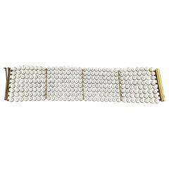 Handcraft Pearls 18 Karat Yellow Gold Cuff Bracelet