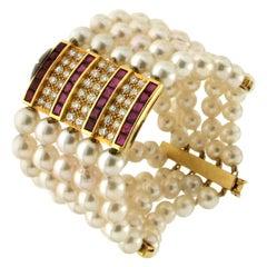 Handcraft Japan Pearls 18 Karat Yellow Gold Diamonds Ruby Cuff Bracelet