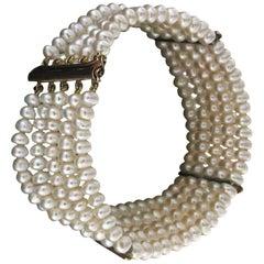 Handcraft Pearls 9 Karat Yellow Gold Diamonds Cuff Bracelet