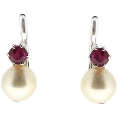 Handcraft Japan Pearls White Gold 18 Karat Ruby Clip-On Earrings