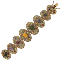 Handcraft Peridot 14 Karat Yellow Gold Citrine Cuff Bracelet