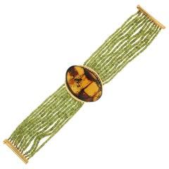 Handcraft Peridot 18 Karat Yellow Gold Amber Cuff Bracelet