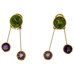 Handcraft Peridot 18 Karat Yellow Gold Amethyst Drop Earrings