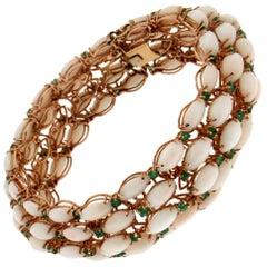 Handcraft Pink Coral 14 Karat Yellow Gold Emeralds Cuff Bracelet