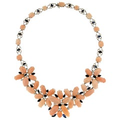 Handcraft Pink Coral 18 Karat White Gold Diamonds Choker Necklace