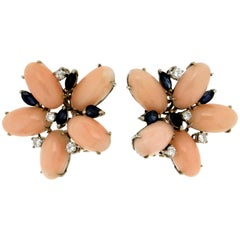 Handcraft Pink Coral 18 Karat White Gold Diamonds Sapphires Stud Earrings