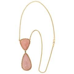 Handcraft Pink Opal 18 Karat Yellow Gold Diamonds Pendant Necklace