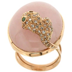 Handcraft Pink Quartz 14 Karat Yellow Gold Diamonds Cocktail Ring