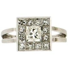 Handcraft Princess Cut Diamonds 18 Karat White Gold Engagement Ring