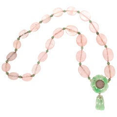 Handcraft Quartz 14 Karat Yellow Gold Jade Drop Necklace