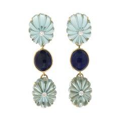 Handcraft Quartz 18 Karat Yellow Gold Diamonds Lapis Lazuli Drop Earrings
