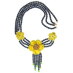 Handcraft Quartz Flowers 18 Karat Yellow Gold Multi-Strand Necklace