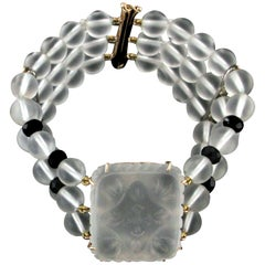 Handcraft Rock Crystal 14 Karat Yellow Gold Onyx Diamonds Cuff Bracelet