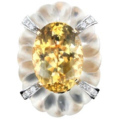 Handcraft Rock Crystal 18 Karat Gold Citrine Diamonds Cocktail Ring