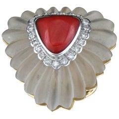Handcraft Rock Crystal 18 Karat Gold Coral Diamonds Cocktail Ring