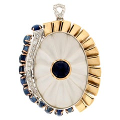 Handcraft Rock Crystal 18 Karat Gold Sapphires Diamonds Pendant Necklace