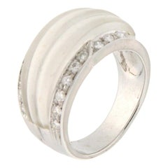 Handcraft Rock Crystal 18 Karat White Gold Diamonds Cocktail Ring