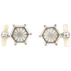 Handcraft Rock Crystal 18 Karat White Gold Diamonds Cufflinks