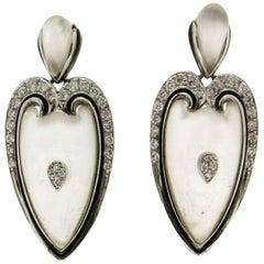 Handcraft Rock Crystal 18 Karat White Gold Diamonds Drop Earrings