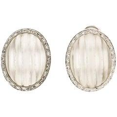 Handcraft Rock Crystal 18 Karat White Gold Diamonds Stud Earrings