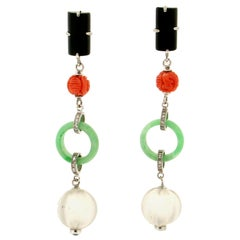 Handcraft Rock Crystal 14 Karat White Gold Jade Onyx and Diamonds Drop Earrings