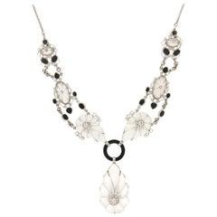 Handcraft Rock Crystal 18 Karat White Gold Onyx Diamonds Drop Necklace
