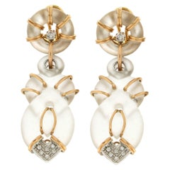 Handcraft Rock Crystal 18 Karat Yellow and White Gold Diamonds Stud Earrings