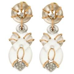 Handcraft Rock Crystal 18 Karat Yellow Gold Diamonds Stud Earrings