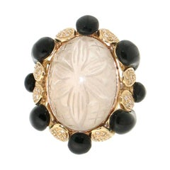 Handcraft Rock Crystal 18 Karat Yellow Gold Onyx Diamonds Cocktail Ring