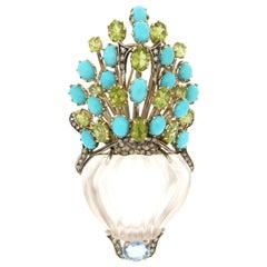 Handcraft Rock Crystal Vase 14 Karat Yellow Gold Diamonds Brooch Pendant