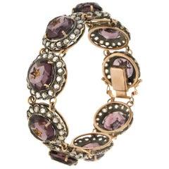 Handcraft Rose Cut Diamonds 14 Karat Yellow Gold Amethyst Cuff Bracelet