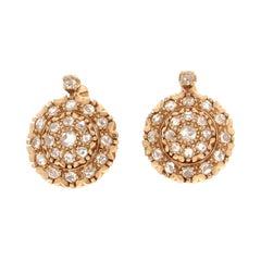 Handcraft Rose Cut Diamonds 14 Karat Yellow Gold Stud Earrings
