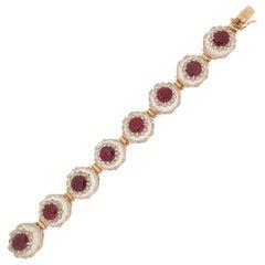 Handcraft Rubies 14 Karat Yellow Gold Diamonds Cuff Bracelet