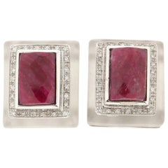 Handcraft Rubies 18 Karat White Gold Diamonds Clip-On Earrings