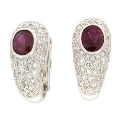 Handcraft Rubies 18 Karat White Gold Diamonds Stud Earrings