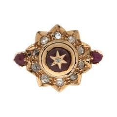 Handcraft Rubies 9 Karat Yellow Gold Rose Cut Diamonds Cocktail Ring