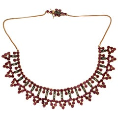 Handcraft Ruby 14 Karat Yellow Gold Diamonds Choker Necklace