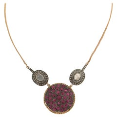 Handcraft Ruby 14 Karat Yellow Gold Diamonds Pendant Necklace