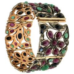 Handcraft Ruby 14 Karat Yellow Gold Emeralds Sapphires Diamonds Cuff Bracelet