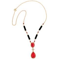 Handcraft Ruby 14 Karat Yellow Gold Onyx Barrels Diamonds Pendant Necklace