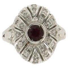 Handcraft Ruby 18 Karat White Gold Diamonds Cocktail Ring