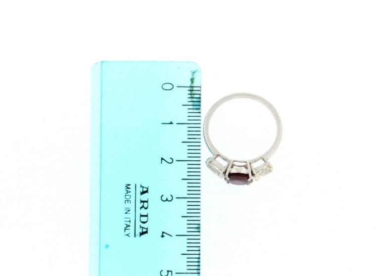Handcraft Ruby 18 Karat White Gold Diamonds Engagement Ring For Sale 5